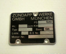 Engine type plate zundapp 1960-