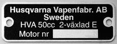 Typskylt HVA 2-växlad